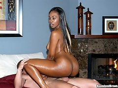 Super sexy ebony babe takes a hot facial here in these slammin pics