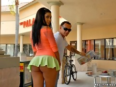 Smokin hot latina giselle gets her mini skirt ass picked up for some hot long dong sucking and hard fucking actions