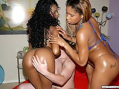 Super hot glazed ebony babes show off their assets cum watch this hot threesome wow