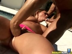 Danny could not wait to suck and fuck those amazing tits, but Allie loves to get her pussy licked
